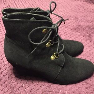 H&M Black Faux Suede Wedge Bootie - Size 8